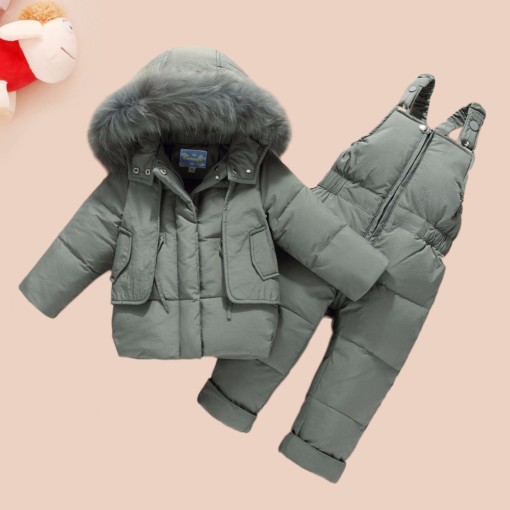 HYLKIDHUOSE 2018 Child WinterClothing Sets Baby Girls Boys Clothes Suits Duck Down Warm Thicken Coats Bib Pants Infant Costume hylkidhuose 2018 baby girls boys winter clothes suits children clothes suits white duck down thicken coats bib pants kids suits