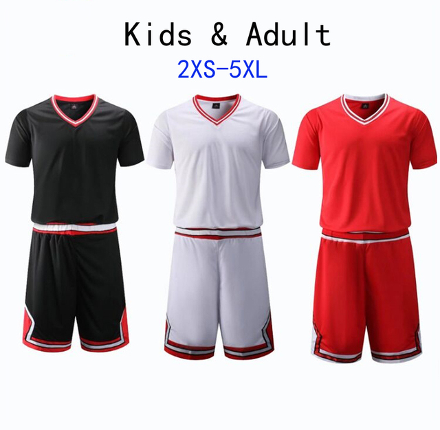 12e3d7af1 Kid   Adult Hight Quality Short Sleeve College Basketball Jerseys Youth  Basketball Shirt Sets throwback jersey Red Plus Size 5XL