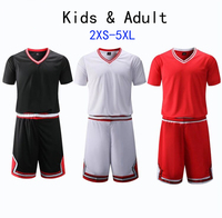 Kid & Adult Hight Quality Short Sleeve College Basketball Jerseys Youth Basketball Shirt Sets throwback jersey Red Plus Size 5XL