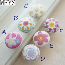 Round Flower Knobs Ceramic Drawer Furniture Dresser Cupboard Handle Decorative for Girls