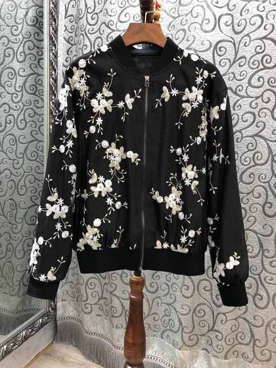 Nouvelle Femmes Brodé Court De Vêtements Fleurs La Zipper 2019 310 Manteau EOdq6q