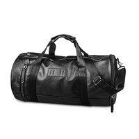 UIYI Men Luggage Travel Bags Large Black Duffle Tote PU Leather Satchel Handbag Women Bucket Bags Satchel Shoulder Bag 140007