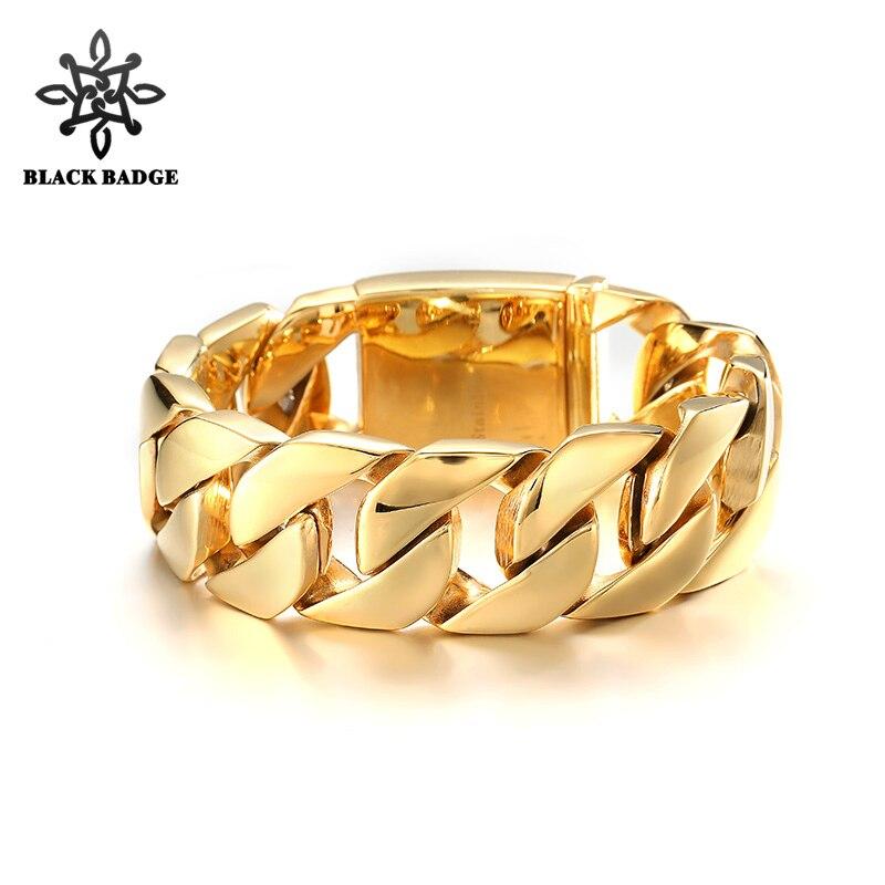 Insigne noir plat gourmette chaîne Bracelet hommes en acier inoxydable Miami cubain Bracelets Hip Hop Rock bijoux cadeau personnaliser en gros