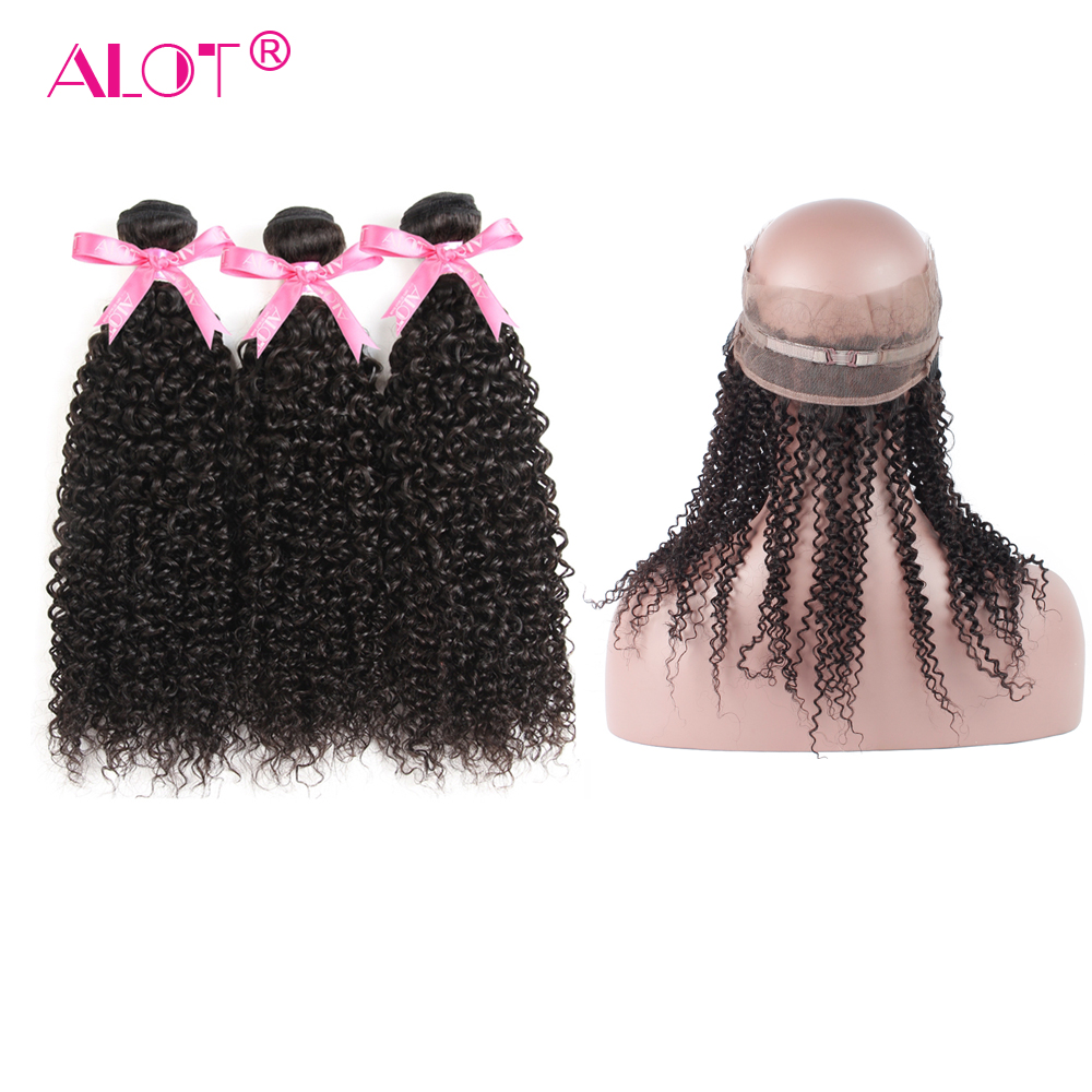 ALot Afro Kinky Curly Weave Human Hair Bundles With 360 Lace Frontal Closure Non Remy Malaysia Hair 3 Bundles With Closure 4 PCS