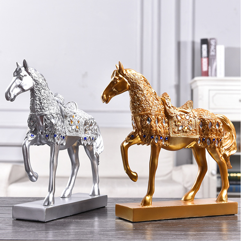 Retro Diamond Gold/Silver War Horse Statue Creative Resin Desktop Sculpture Crafts Ornament Home Decoration Animal Figurine 88