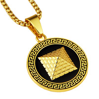 Men/women Hip Hop Gold color Ancient Egypt Pyramid Necklace Egyptian Greek Key Design Pendant Jewelry