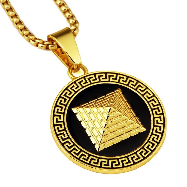 Menwomen Hip Hop Gold Color Ancient Egypt Pyramid Necklace Egyptian