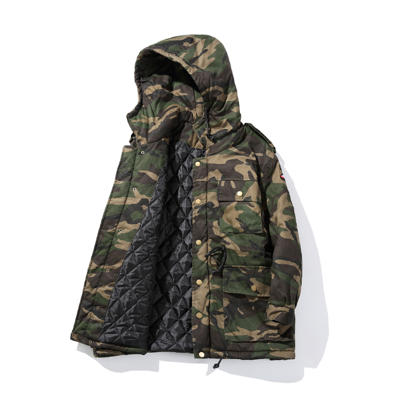 ФОТО Free shipping 2016 man camouflage long Down jacket  fashion man high-end European American style design warm Cotton liner coat