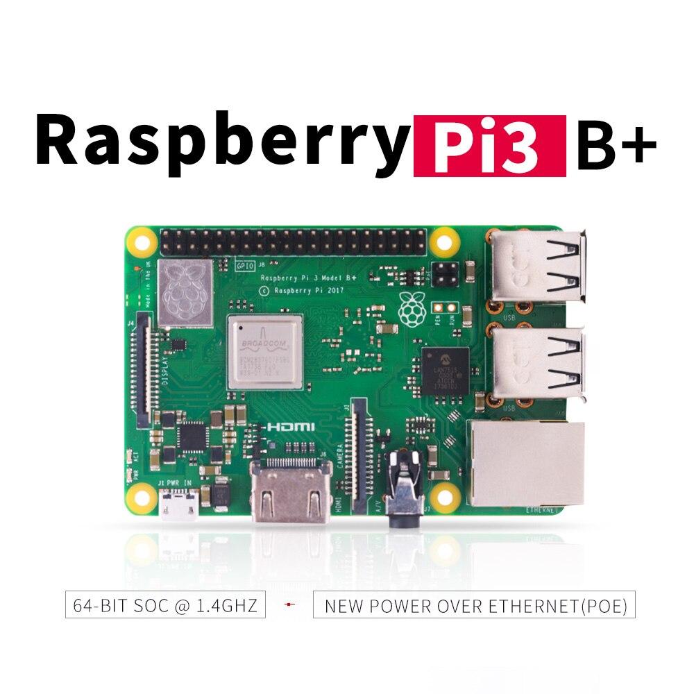 2018 nova original 3 Raspberry Pi Modelo B + (ficha) broadcom processador de 1.4 GHz quad-core 64 bit embutido Bluetooth Wi-fi e Porta USB