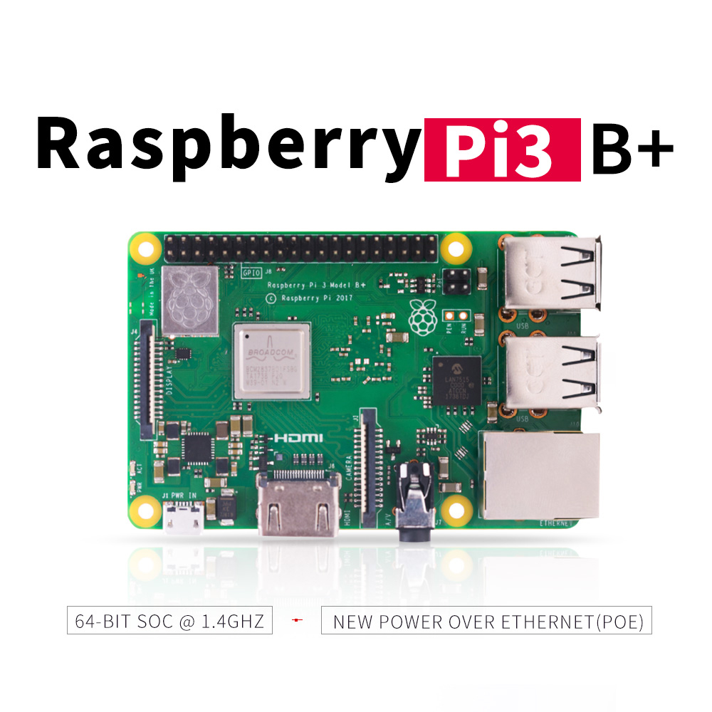 2018 nuevo original Raspberry Pi 3 Modelo B + (enchufe) Broadcom 1,4 GHz quad-core 64 bit procesador Wifi Bluetooth y Puerto USB