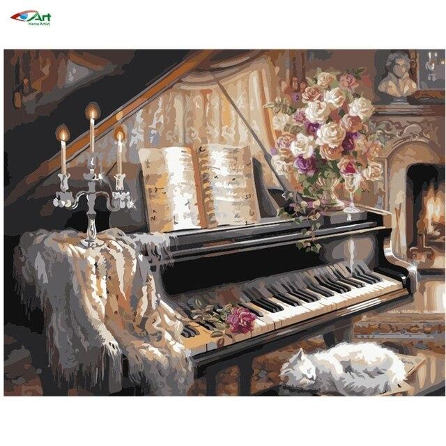 AZQSD 40x50 см Фотографии Краски По Номерам Старый Фортепиано Diy цифровой живописи маслом по номерам для домашнего декора szyh036