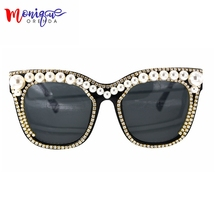 2017 Oversize Sunglasses Women Pearl with Rhinetone Sun Glasses Fashion Vintage  Shades New Oculos Lentes Mujer