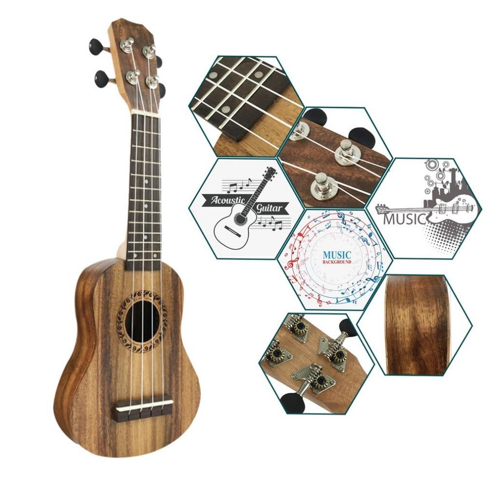 17 Inch Acacia Wood TSAI Ukulele Mini Hawaiian Guitar 4 Strings Guitarra Ukulele Handcraft Wood Musical Instrument Popular New