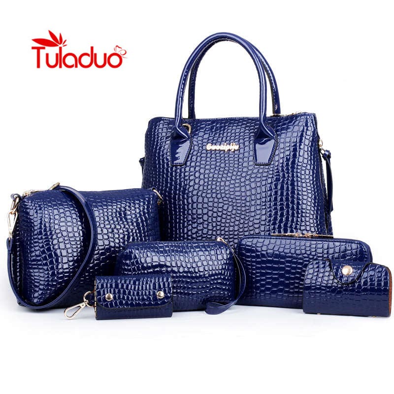 ФОТО Tuladuo 2017 Designer Brand Faux Leather Bag Sac a Main Women Bags Ladies Hand Bag Composite 6 Sets Crocodile Bag Clutch Bolsas