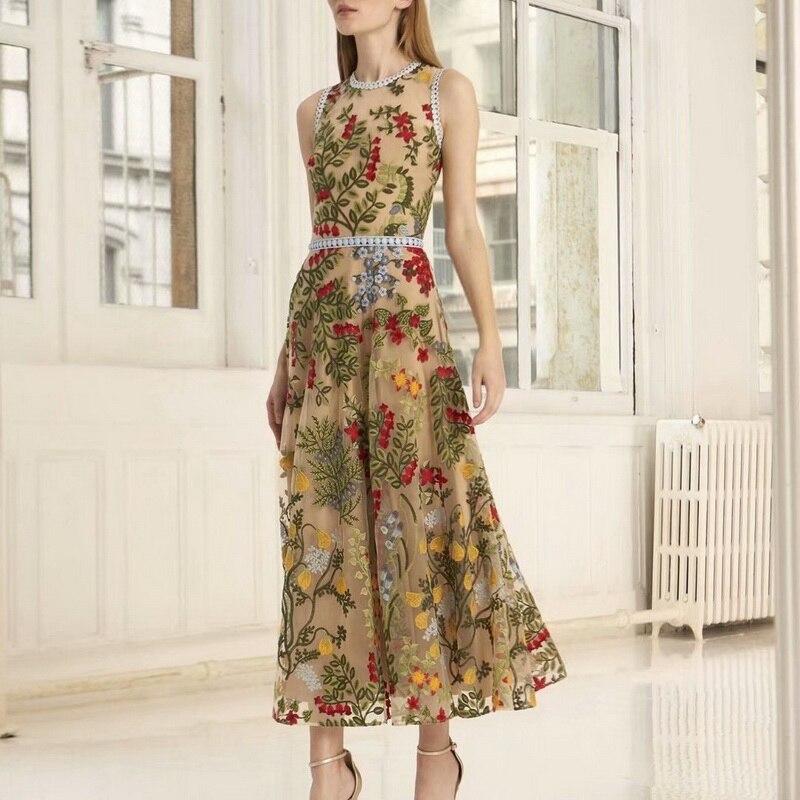 2019 ฤดูร้อนใหม่ Arrial Charming ตาข่ายวันหยุดปักลายปักชุดสตรี 190320Z01-ใน ชุดเดรส จาก เสื้อผ้าสตรี บน   1