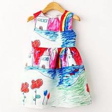 Colorful Girl Dress 2017 Summer Princess Dress Girl Designer Character Painting Kids Dresses for Girls Clothes