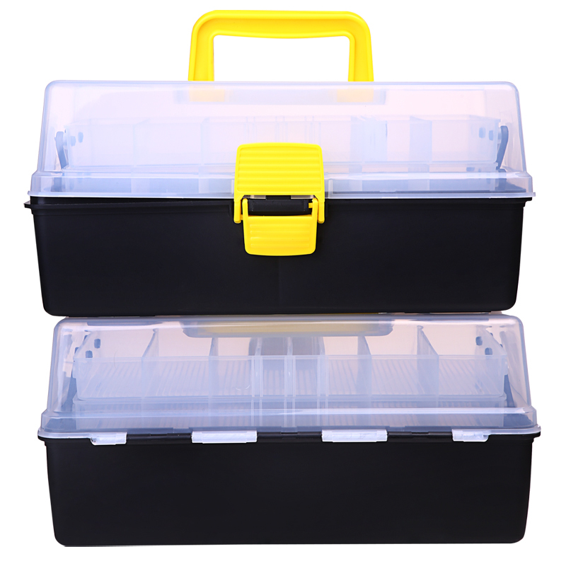 3 layer big fishing tackle box plastic handle fishing box for Large tackle boxes for fishing