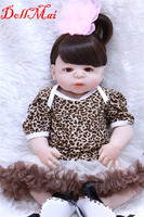 Bebe DollMai 22 real silicone reborn dolls for children gift toys with pacifier bottle blue/brown eyes optional bonecas