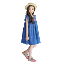 New Summer Jean Dress For Girls Princess, Children Baby Cute Denim Clothing 2018 summer baby dress teenage