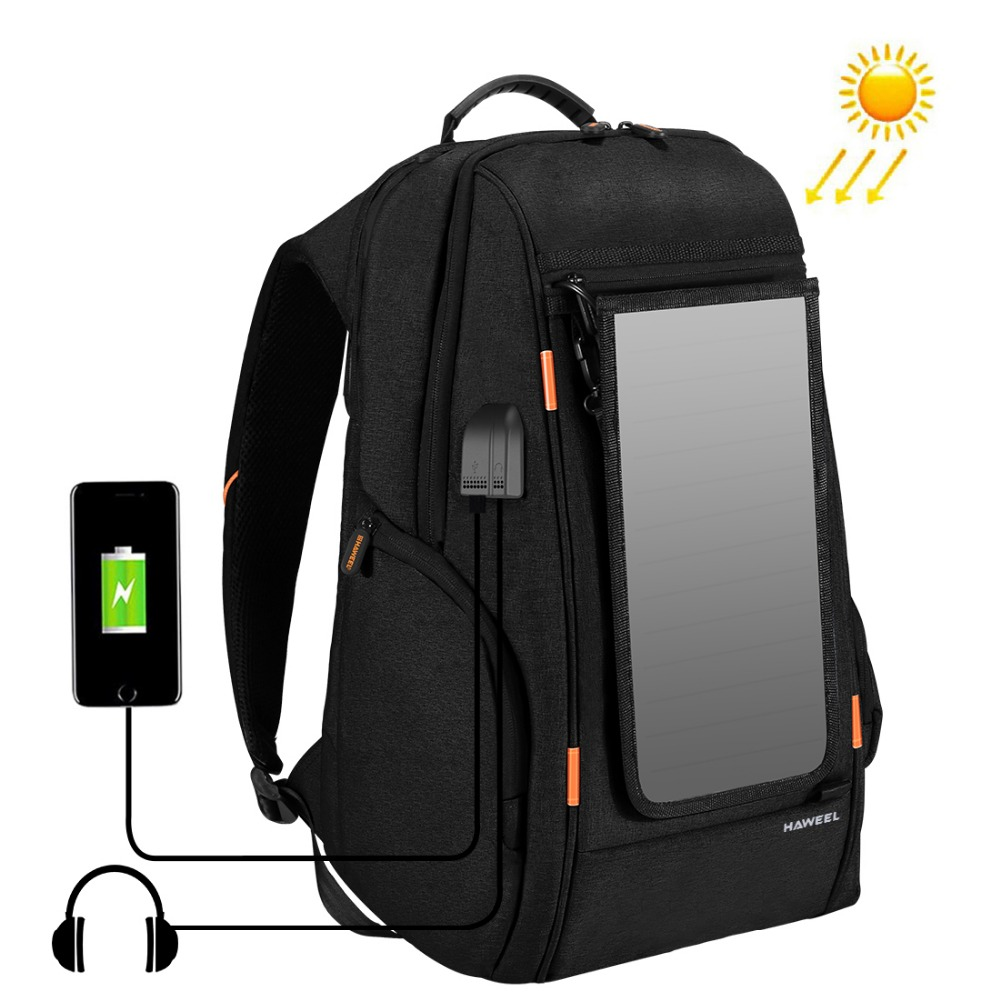 Outdoor Solar Panel Power Camera Bag Multi-function Breathable Casual Backpack Laptop Bag with Handle External USB Charging Port
