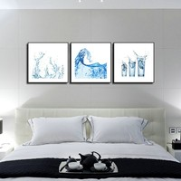 3 Panels Wall Painting Water Cup Abstract Canvas Modern Home Room Wall Decor Art HD Large Print Picture Poster Free Shipping