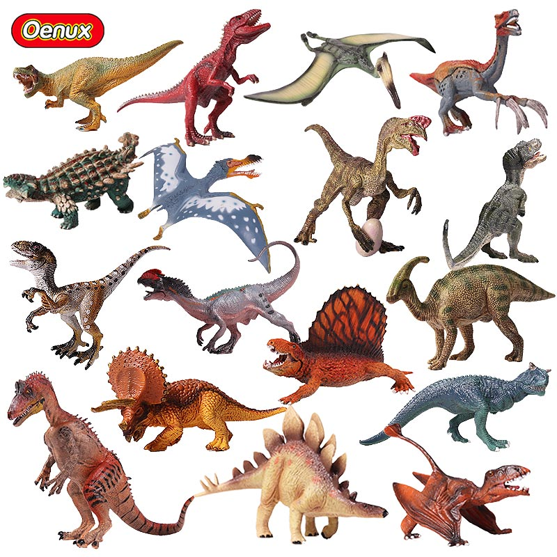 Oenux Original Jurassic Dinosaurs Figurines Therizinosaurus T-Rex Pterosaur Model Action Figures Educational&Collection Toys oenux prehistoric jurassic tyrannosaurus rex spinosaurus t rex dinossauro world model savage dinosaurs action figure toy for kid