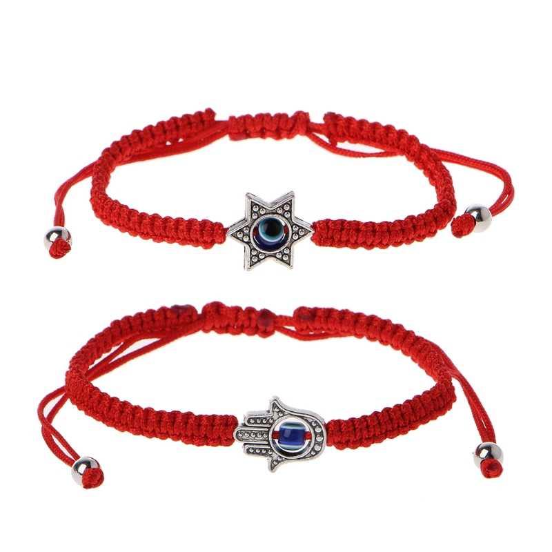 JAVRICK Lucky Kabbalah Red String Hamsa สร้อยข้อมือ Blue Evil Eye Fatima Hand เครื่องประดับประณีตสร้อยข้อมือ