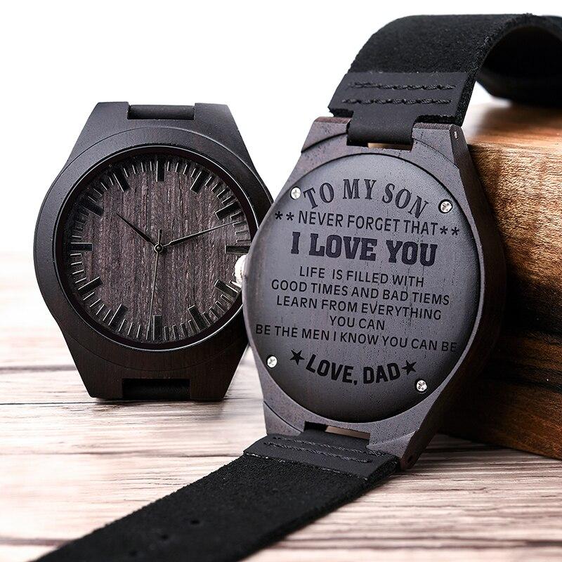 Relógio masculino entalhado de madeira, presentes de família, relógios personalizados, presente especial de padrinhos, um grande presente para homens, desembarque de entrega