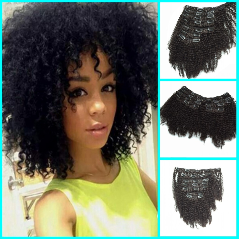 Hot Peruvian Afro Kinky Curly Hair Clip Ins For Black Women Afro