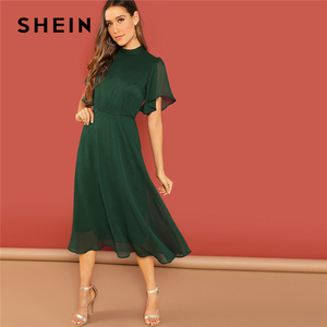 Image 3 - SHEIN Weekend Casual Green Flutter Sleeve Short Sleeve Split Tie Back Solid Stand Collar Dress Women Autumn Elegant Dress