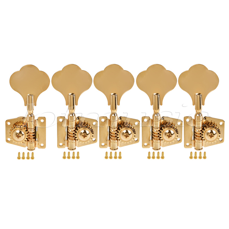 5 String Bass Guitar Tuners Tuning Pegs Keys Machine Heads Open Gear 4R1L Gold a set chrome sealed gear tuning pegs machine heads tuners for guitar with black big square wood texture buttons