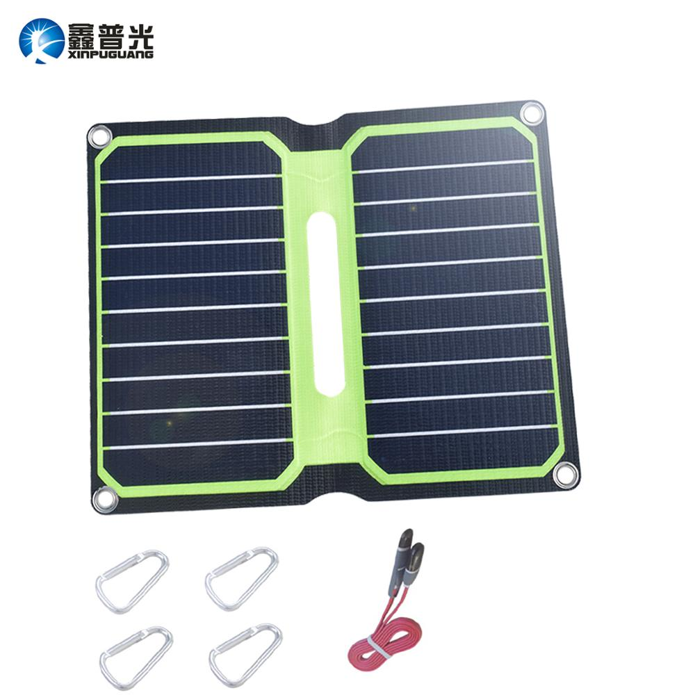 Xinpuguang 10W 5V ETFE Folding Solar Panel Waterproof Portable Solar Panel Charger USB DC Output for Phone Tablet Camping Travel image