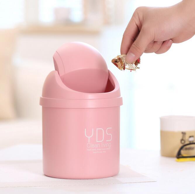 Qualified Plastic mini Table Dustbin Sundries Barrel Storage Tank Desktop garbage box Car can vehicle Trash Can ash-bin