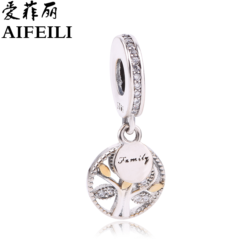 AIFEILI Real 925 Sterling Silver Family Tree Dangle Charm Beads Fit Original Pandora Bracelet Authentic Luxury DIY Jewelry