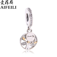 AIFEILI Real 925 Sterling Silver Family Tree Dangle Charm Beads Fit Original Pandora Bracelet Authentic Luxury