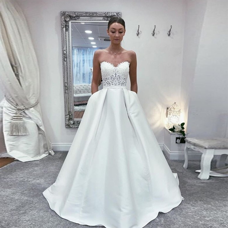 Gorgeous Princess A-line Wedding Dress Sweetheart Neckline Appliques Bridal Dress With Pockets 2019 New Elegant Vestido De Noiva