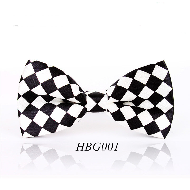 Free Shipping Men's Black White Plaid Leisure Fashion Brand Bowtie Cravat Gentleman Butterfly Wedding Bow Ties