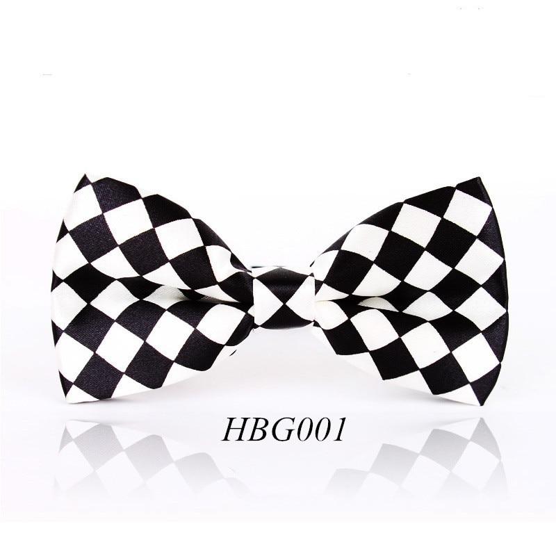 Free Shipping Men's Black White Plaid Leisure Fashion Brand Bowtie Cravat Gentleman Butterfly Wedding Bow Ties