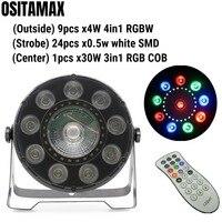 OSITAMAX A 6pcs/Lot DMX remote par can light 9x4w rgbw quad colorful 30w cob dmx indoor par cans lighting dj 3in1 effect strobe