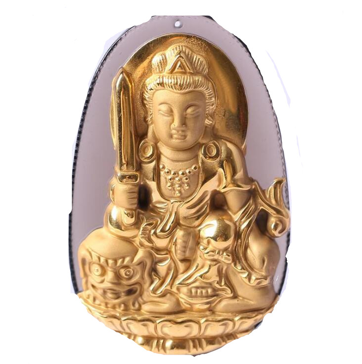 Natural Ice Clear Obsidian Carved Gold Color Chinese WenShu Kwan-Yin Buddha Lucky Pendant + free Necklace fashion Jewelry