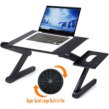 Portable Foldable Adjustable Folding Table for Laptop Desk Computer Mesa Notebook Stand Tray For Sofa Bed With Fan Mouse Pad цена 2017