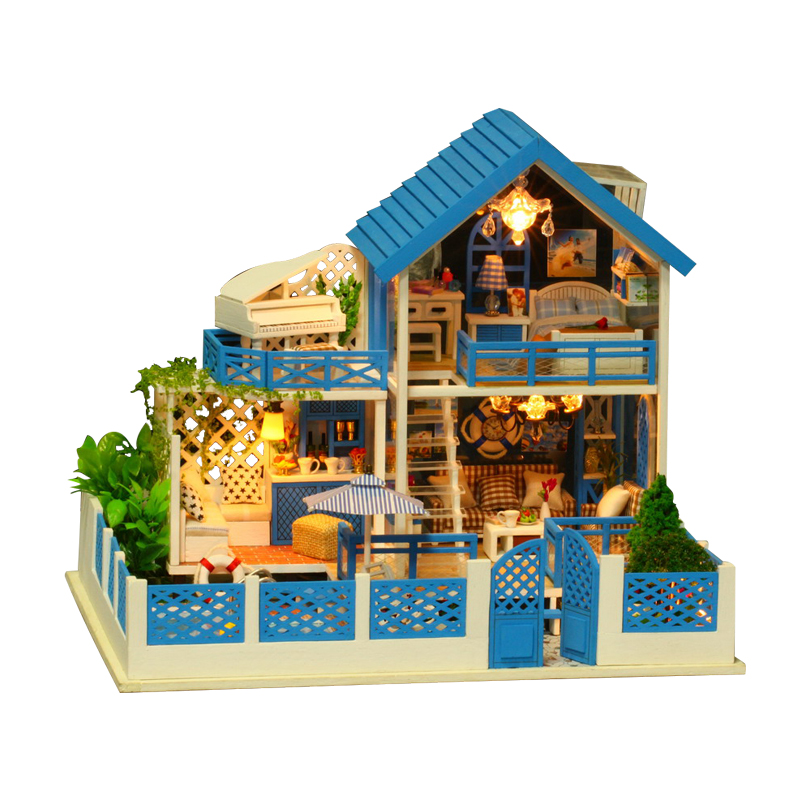 3D Miniature Doll House Wooden Toy Diy Puzzle Doll House with Furniture Decoration Building Kit dollhouse Toys for Children Gift puzzled gothic house wooden 3d puzzle construction kit