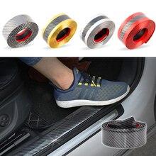 Auto Aufkleber Styling 5D Carbon Faser Gummi Tür Vinyl Einstiegsleisten Waren Stoßstange Dekorative Streifen Für KIA Ford etc Zubehör