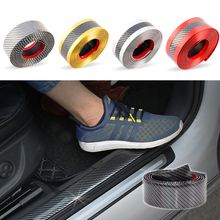 Car Stickers Styling 5D Carbon Fiber Rubber Door Vinyl Sill Protector Goods Bumper Decorative Strip For KIA Ford etc Accessories