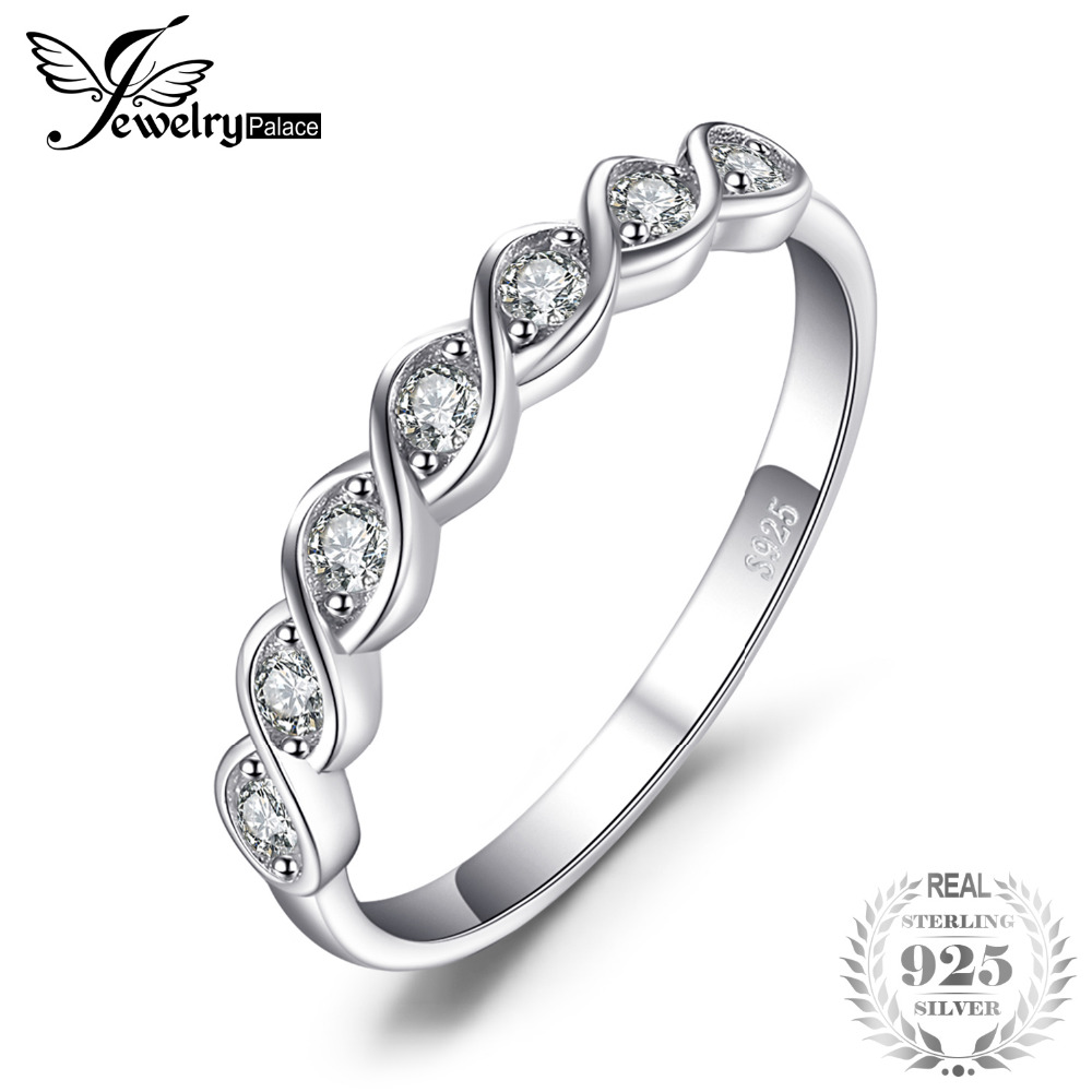 цена на JewelryPalace Classic Round Cubic Zirconia Wedding Promise Ring 925 Sterling Silver Jewelry Simple Wedding Engagement Ring
