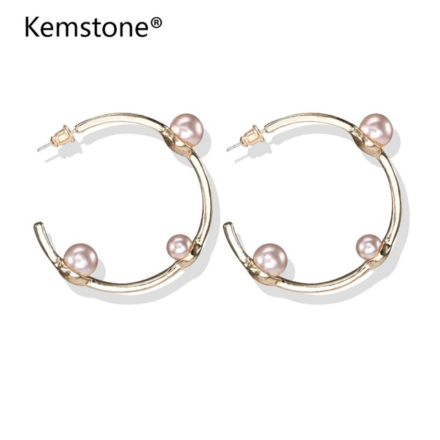 Kemstone Fashion Simulated Pearl Stud Earrings For Women C Shape Round Party Fashionable