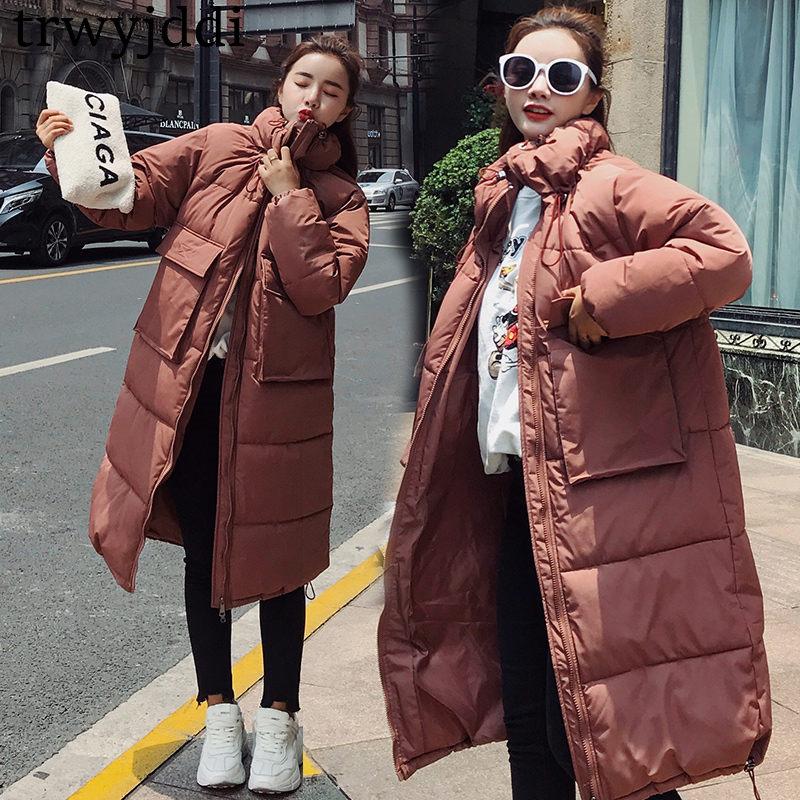 2018 New Fashion Autumn Winter Jacket Female Cotton Jacket Korean Long Cotton Clothes Winter Women Warm   Parka   Coat A1712