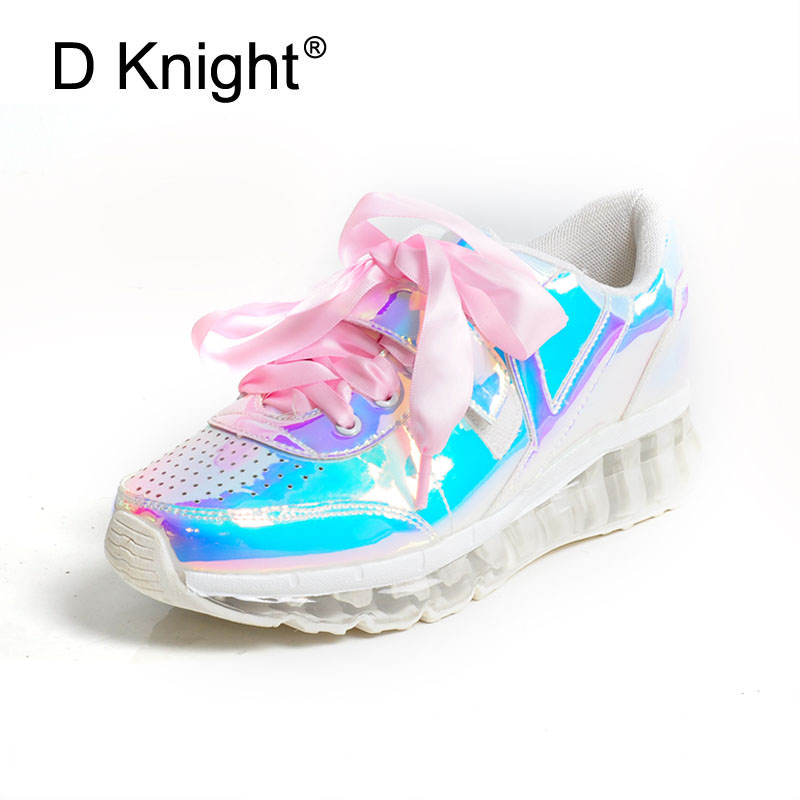 Women Shoes 2018 Spring Fashion Casual Shoes Silver Hologram Creepers Flat Heel Shoes Autumn Pink Ladies Harajuku Platform Shoes