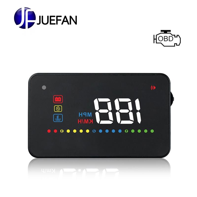 JUEFAN A200 OBD II ou EUOBD HUD projecteur de vitesse de voiture projecteur alarme de vitesse projecteur HUD affichage tête haute pare-brise numérique