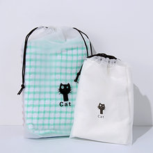 5Pcs/Lot Cute Cat Pattern Transparent Cosmetic Bag Travel Makeup Case Women Drawstring Make Up Bath Organizer Storage Pouch(China)